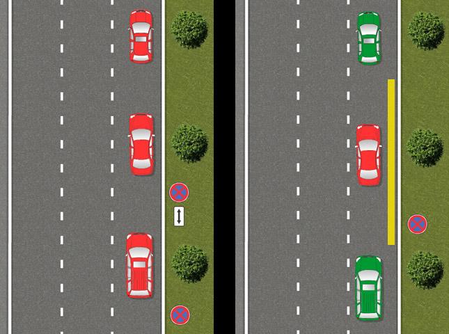 Правильность расположения автомобилей на дороге со знаком 3.27 и табличкой 8.2.4 ПДД